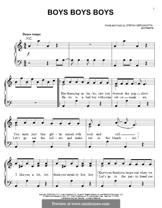 Boys Boys Boys (Lady Gaga): Facil para o piano by RedOne, Stefani Germanotta