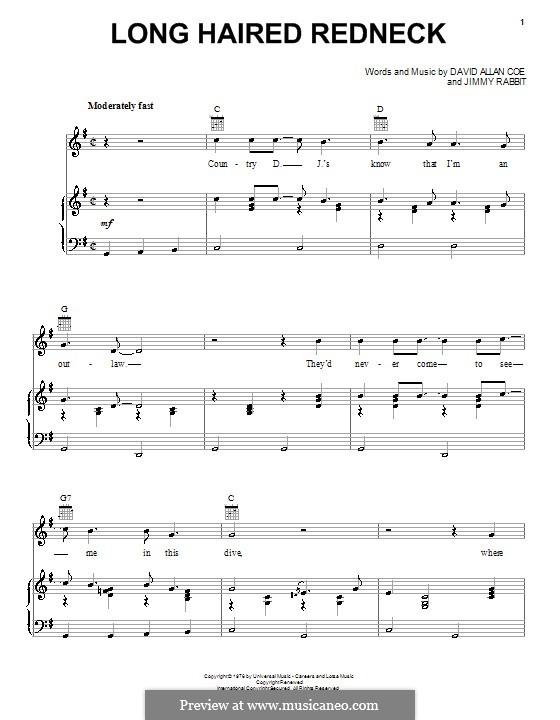 Long Haired Redneck: Para vocais e piano (ou Guitarra) by Jimmy Rabbit