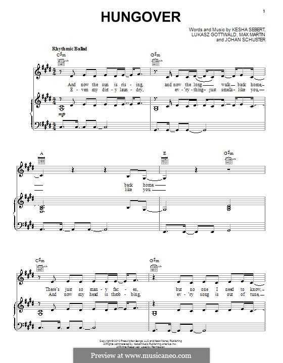 Hungover (Ke$ha): Para vocais e piano (ou Guitarra) by Shellback, Kesha Sebert, Lukas Gottwald, Max Martin