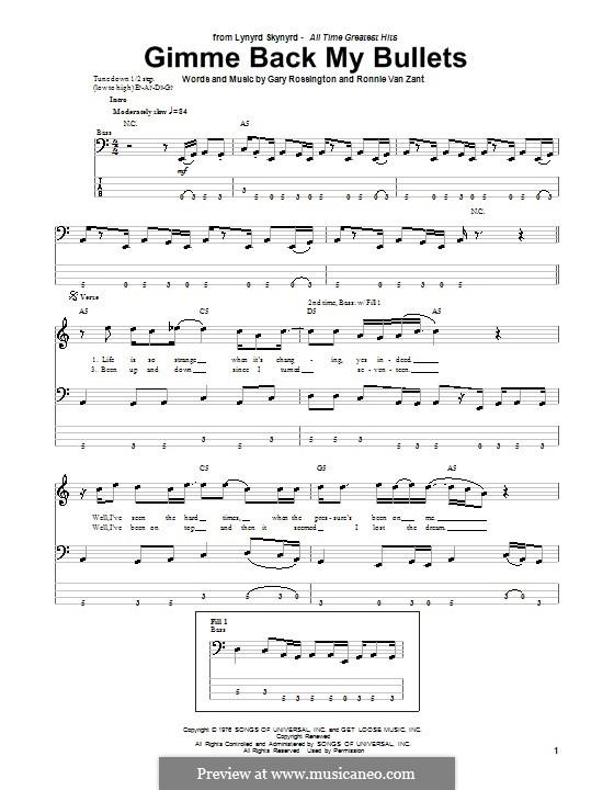 Gimme Back My Bullets (Lynyrd Skynyrd): para baixo com guia by Gary Rossington, Ronnie Van Zant