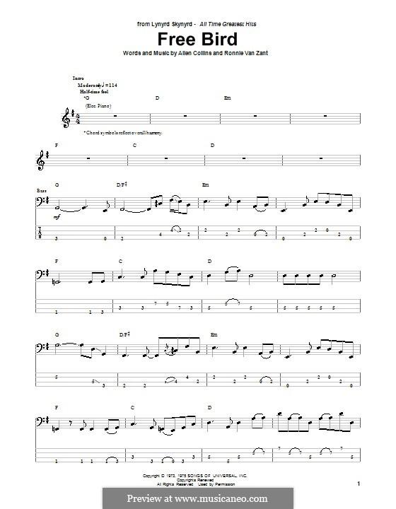 Free Bird (Lynyrd Skynyrd): para baixo com guia by Allen Collins, Ronnie Van Zant