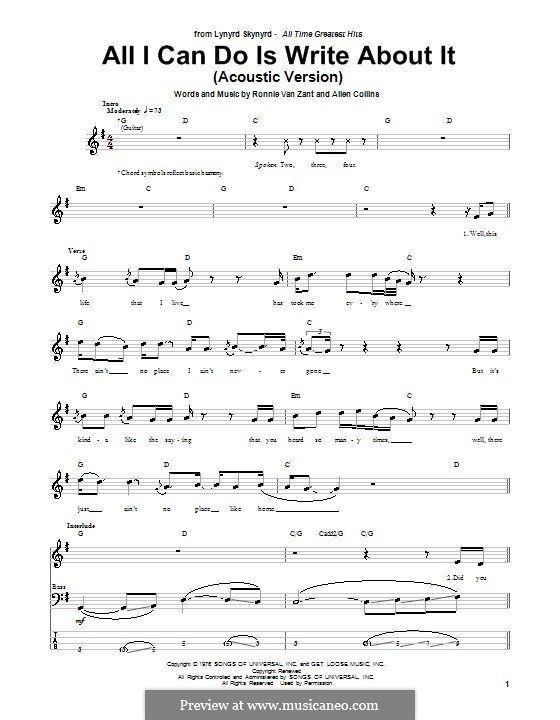 All I Can Do Is Write About It (Lynyrd Skynyrd): para baixo com guia by Allen Collins, Ronnie Van Zant