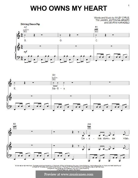 Who Owns My Heart (Miley Cyrus): Para vocais e piano (ou Guitarra) by Antonina Armato, Devrim Karaoglu, Timothy James