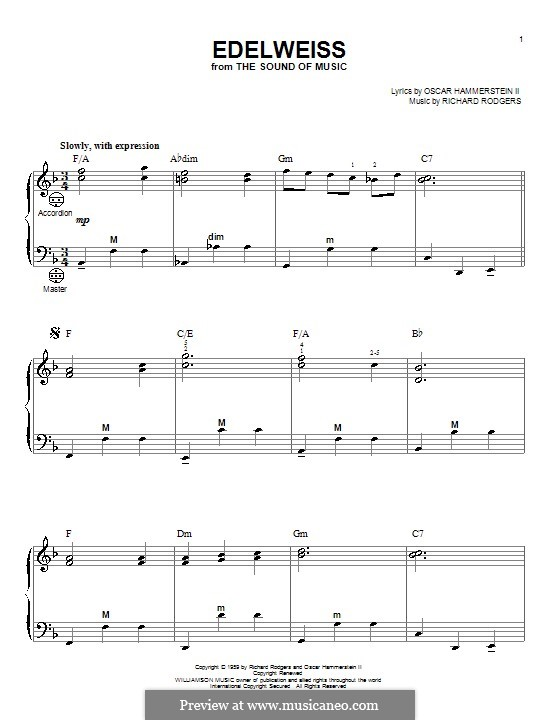 Edelweiss (from The Sound of Music): para acordeão by Richard Rodgers