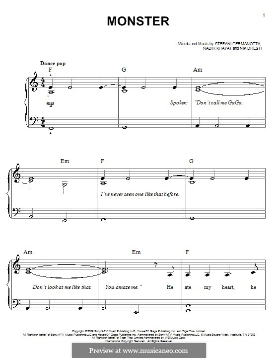 Monster (Lady Gaga): Facil para o piano by RedOne, Nick Dresti, Stefani Germanotta