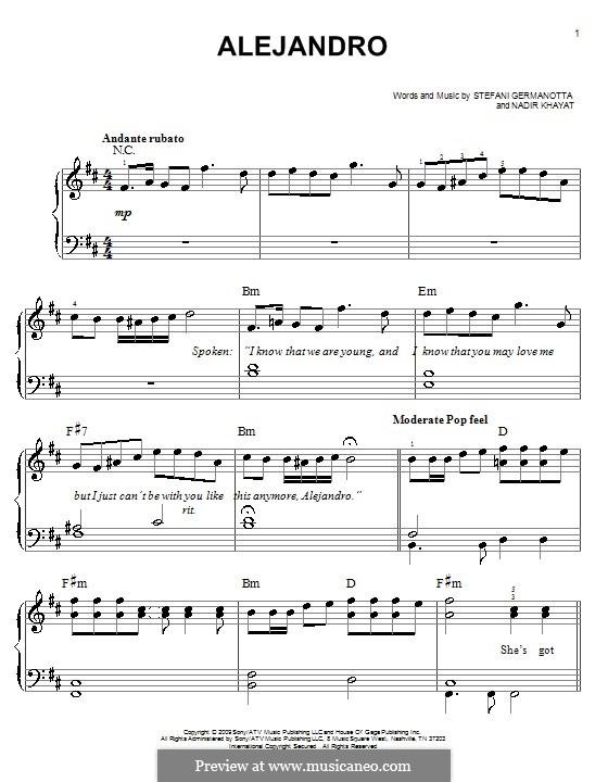Alejandro (Lady Gaga): Facil para o piano by RedOne, Stefani Germanotta
