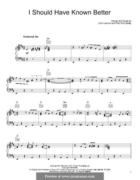 I Should Have Known Better (The Beatles): Para vocais e piano (ou Guitarra) by John Lennon, Paul McCartney