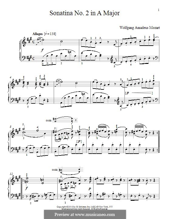 Sonatina for Piano in A Major: Sonatina for Piano in A Major by Wolfgang Amadeus Mozart