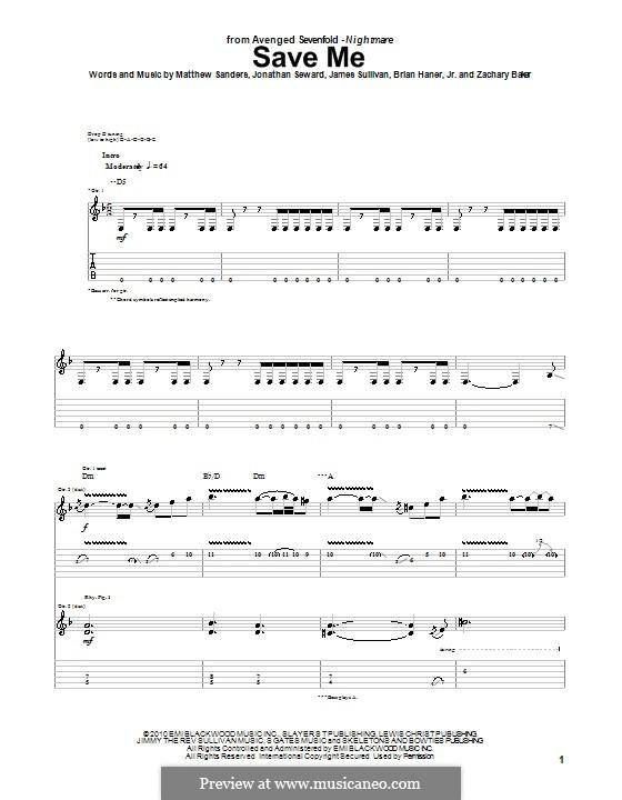 Save Me (Avenged Sevenfold): Para guitarra com guia by Brian Haner Jr., James Sullivan, Jonathan Seward, Matthew Sanders, Zachary Baker