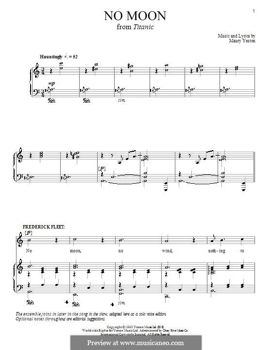 No Moon: Para vocais e piano (ou Guitarra) by Maury Yeston