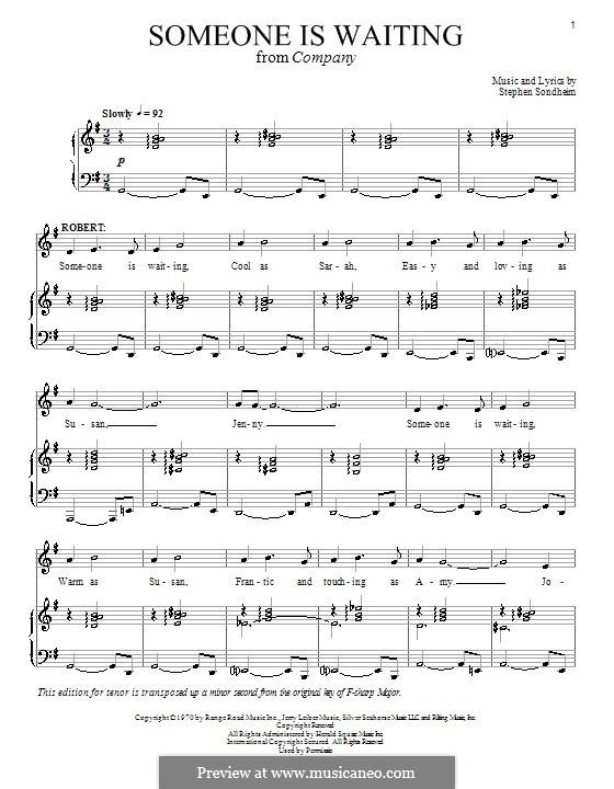 Someone Is Waiting: Para vocais e piano (ou Guitarra) by Stephen Sondheim