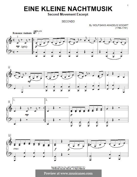 Romance: para piano de quadro mãos by Wolfgang Amadeus Mozart
