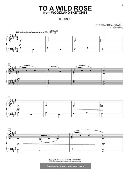 No.1 To a Wild Rose: para piano de quatro mãos - parte by Edward MacDowell