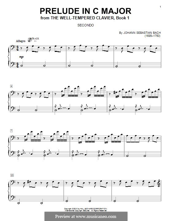 Prelude and Fugue No.1 in C Major, BWV 846: Prelude, for piano four hands by Johann Sebastian Bach