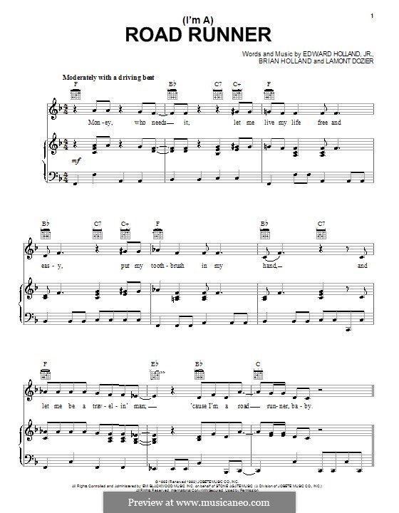 (I'm A) Road Runner (Junior Walker & the All Stars): Para vocais e piano (ou Guitarra) by Brian Holland, Edward Holland Jr., Lamont Dozier