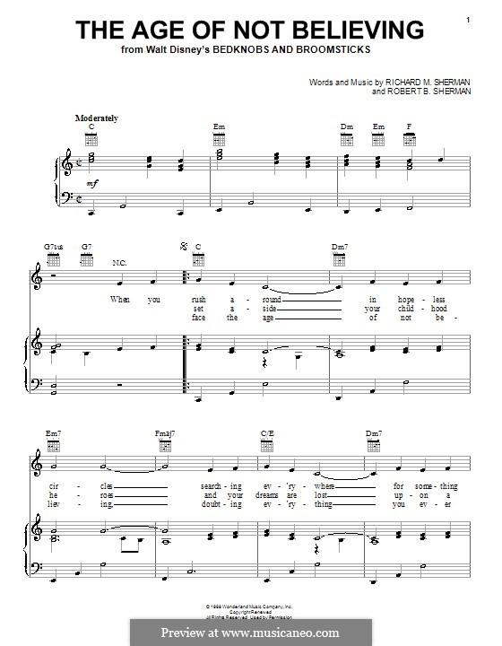 The Age of Not Believing (Angela Lansbury): Para vocais e piano (ou Guitarra) by Richard M. Sherman, Robert B. Sherman