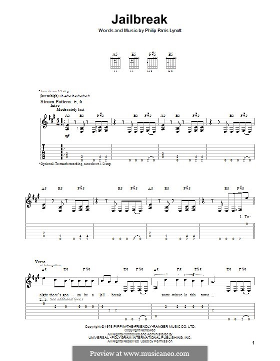 Jailbreak (Thin Lizzy): Para guitarra (versão facil) by Phil Lynott