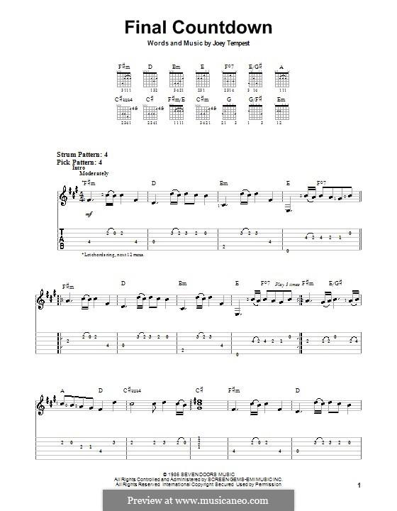 Final Countdown (Europe): Para guitarra (versão facil) by Joey Tempest