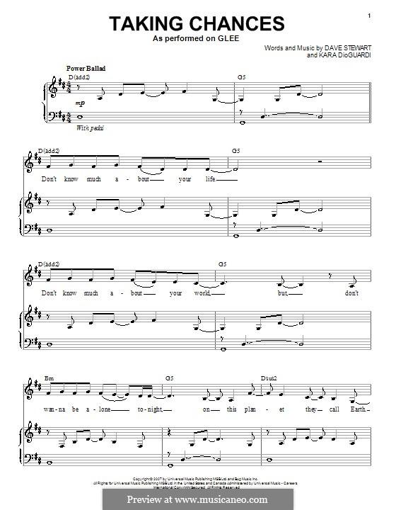 Taking Chances: Para voz e piano ou guitarra (Glee Cast) by David A. Stewart, Kara DioGuardi
