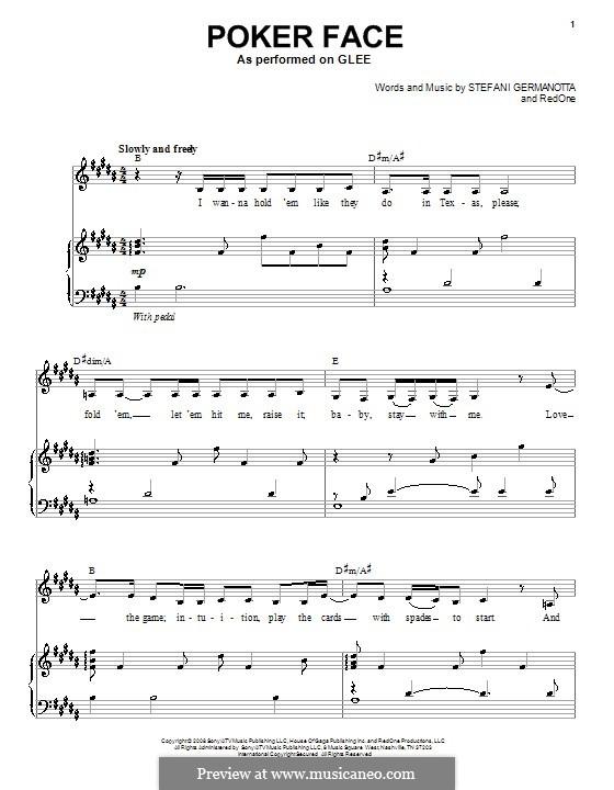 Poker Face (Lady Gaga): Para voz e piano ou guitarra (Glee Cast) by RedOne, Stefani Germanotta