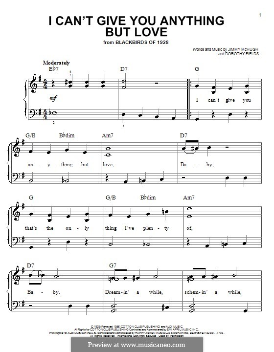 I Can't Give You Anything But Love: Facil para o piano by Jimmy McHugh