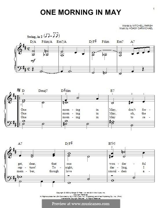 One Morning in May: Facil para o piano by Hoagy Carmichael