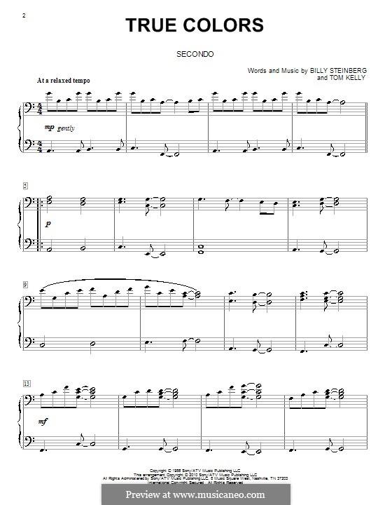 True Colors: para piano de quadro mãos by Billy Steinberg, Tom Kelly