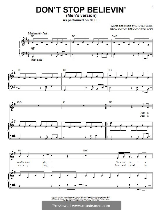 Don't Stop Believin': Para voz e piano ou guitarra (Glee Cast) by Jonathan Cain, Neal Schon, Steve Perry