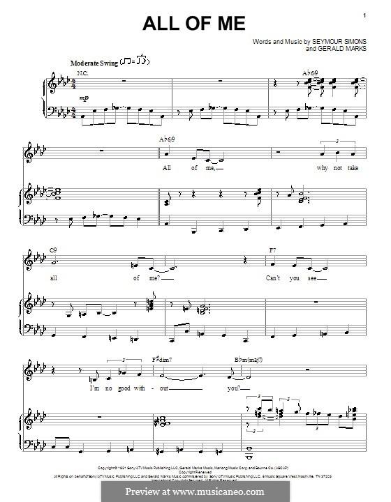 All of Me: Para vocais e piano by Seymour Simons, Gerald Marks