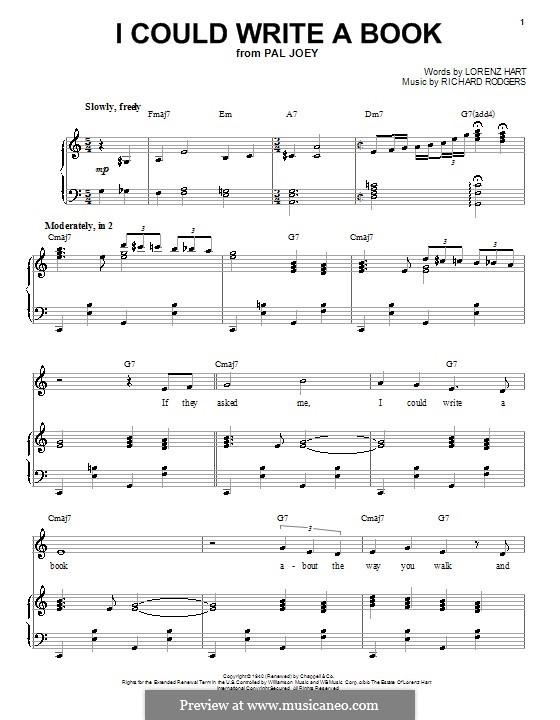 I Could Write a Book: Para vocais e piano by Richard Rodgers
