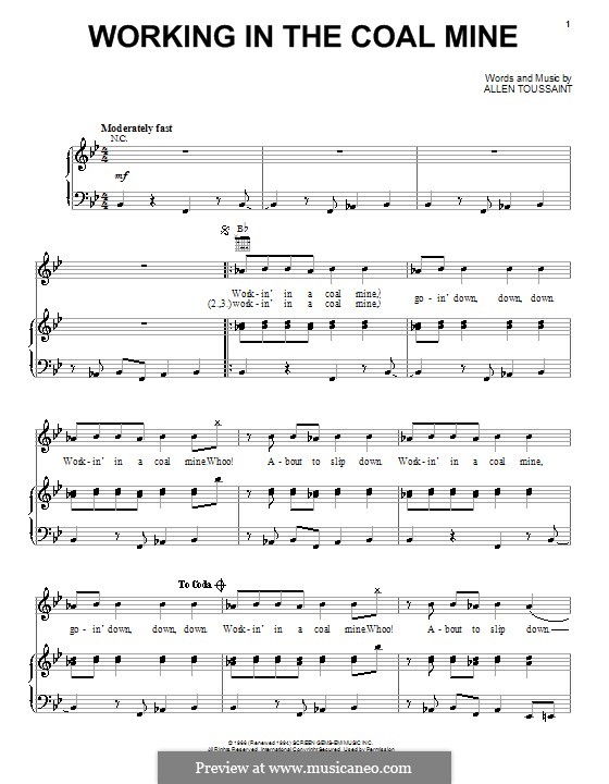 Working in the Coal Mine (Devo): Para vocais e piano (ou Guitarra) by Allen Toussaint