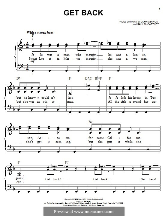 Get Back (The Beatles): Facil para o piano by John Lennon, Paul McCartney