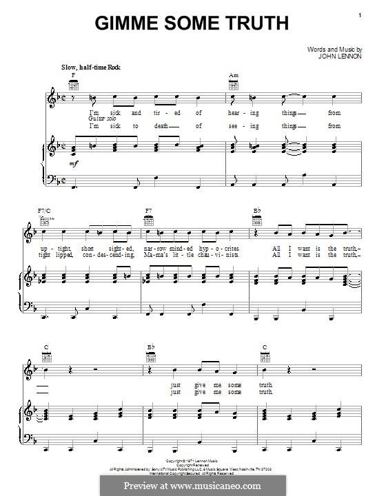 Gimme Some Truth: Para vocais e piano (ou Guitarra) by John Lennon