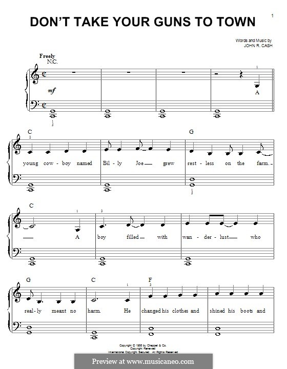 Don't Take Your Guns To Town: Facil para o piano by Johnny Cash