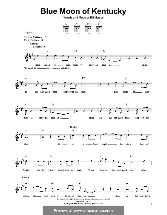 Blue Moon of Kentucky: Para guitarra (versão facil) by Bill Monroe