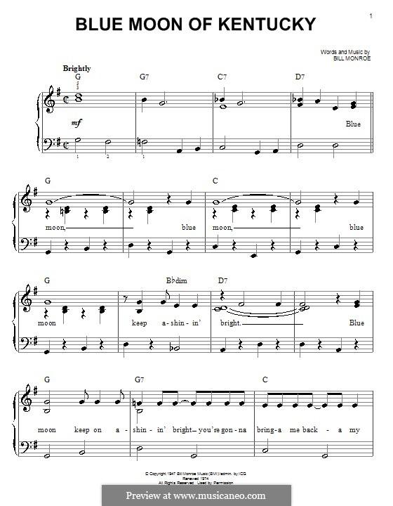 Blue Moon of Kentucky: Facil para o piano by Bill Monroe