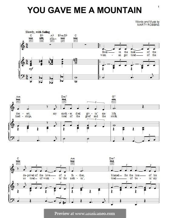 You Gave Me a Mountain: Para vocais e piano (ou Guitarra) by Elvis Presley