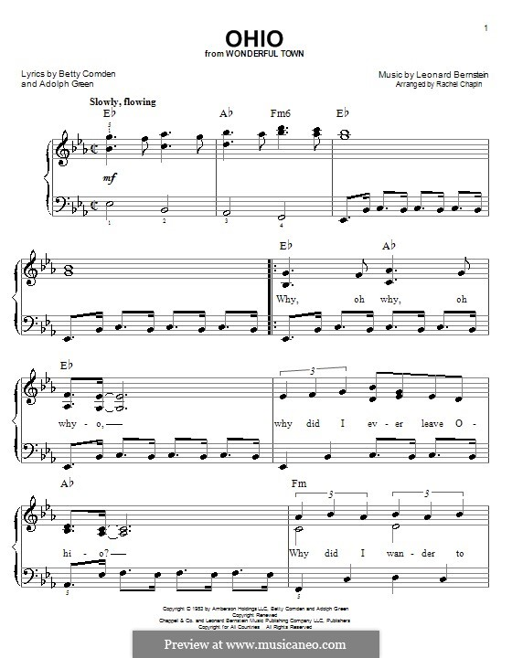 Ohio: Facil para o piano by Leonard Bernstein