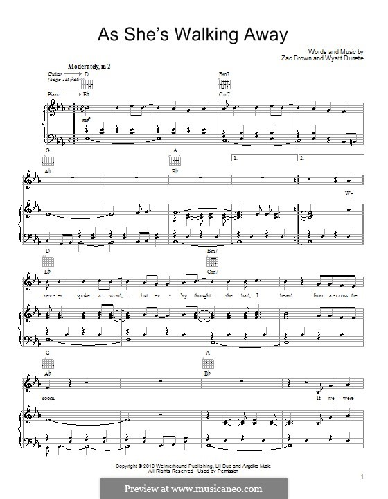 As She's Walking Away (Zac Brown Band featuring Alan Jackson): Para vocais e piano (ou Guitarra) by Wyatt Durrette, Zac Brown