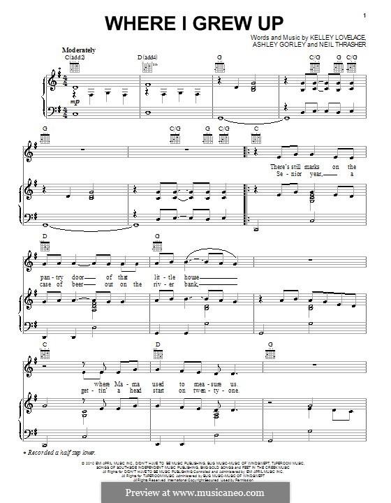 Where I Grew Up (Kenny Chesney): Para vocais e piano (ou Guitarra) by Ashley Gorley, Kelley Lovelace, Neil Thrasher