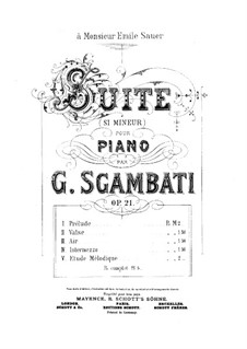 Suite for Piano, Op.21: Suite para Piano by Giovanni Sgambati