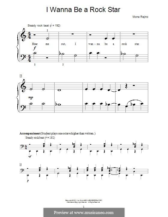 I Wanna Be a Rock Star: Para Piano by Mona Rejino