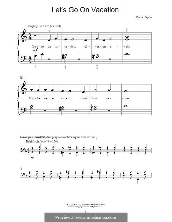 Let's Go On Vacation: Para Piano by Mona Rejino