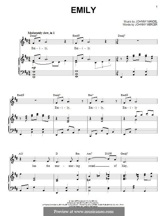 Emily (from The Americanization of Emily): Para vocais e piano by Johnny Mandel