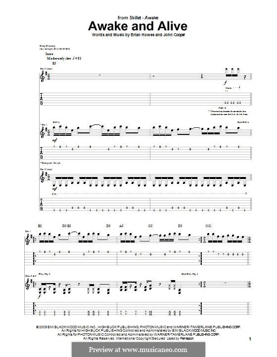 Awake and Alive (Skillet): Para guitarra com guia by Brian Howes, John Cooper