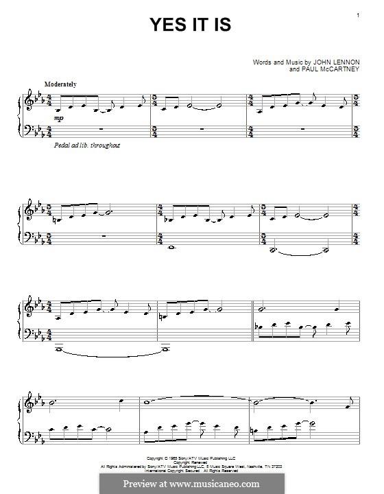 Yes It Is (The Beatles): Para Piano by John Lennon, Paul McCartney