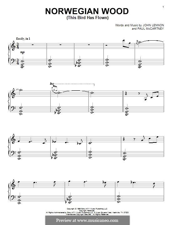 Norwegian Wood (This Bird Has Flown): For piano (David Lanz) by John Lennon, Paul McCartney