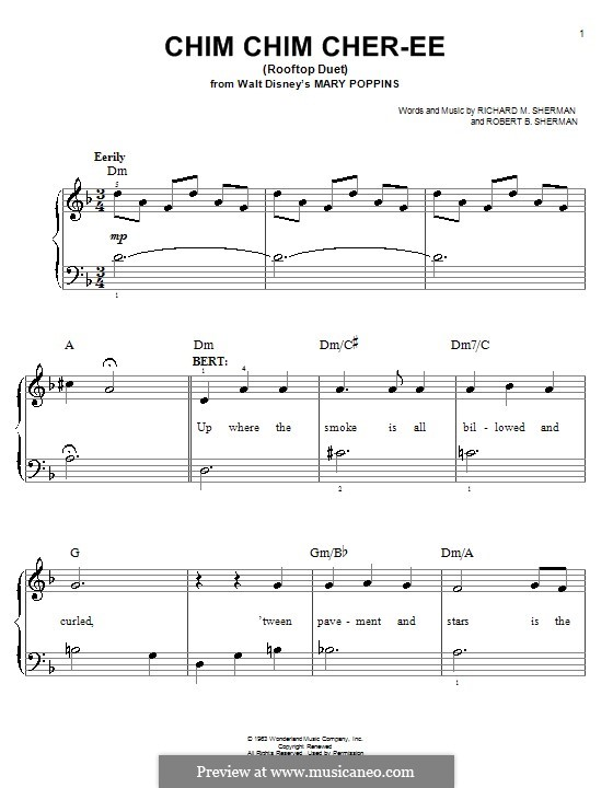 Chim Chim Cher-ee (from Mary Poppins), for Piano: For easy version by Richard M. Sherman, Robert B. Sherman