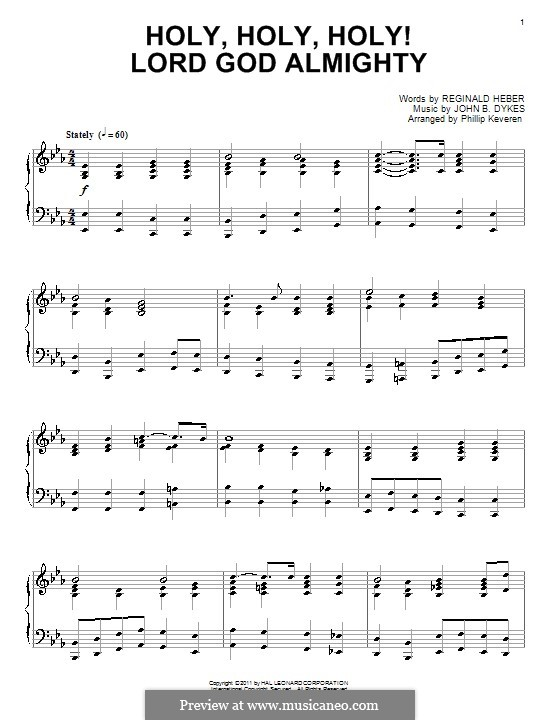 Holy, Holy, Holy! Lord God Almighty: para piano (partituras de alta qualidade) by John Bacchus Dykes