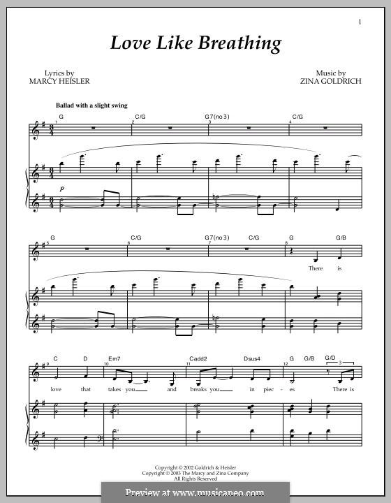 Love Like Breathing: Para vocais e piano by Marcy Heisler, Zina Goldrich